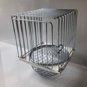 metal wire nest pan holder with door