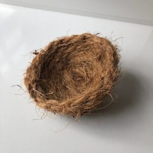 Nest for birds made from coconut fibre