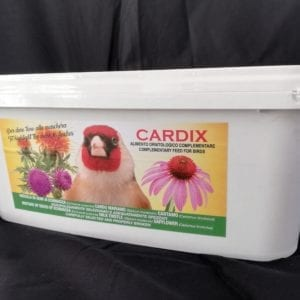 White Plastic container with contents of Cardix Bird food weighing 2kg