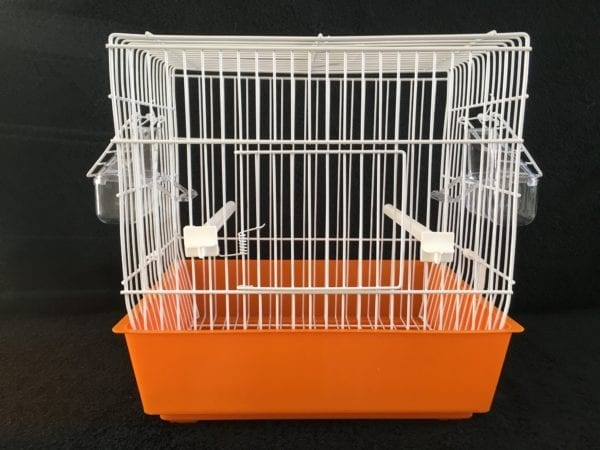 SMALL WHITE WIRE BIRD CAGE WITH PLASTIC COLOURED TRAY