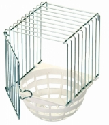 Wire with plastic Nest Pan Holder for outside cage