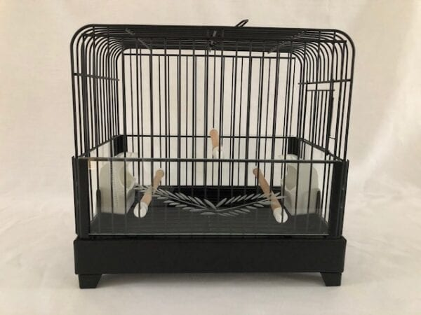 Picture of front of black metal cages with glass panels