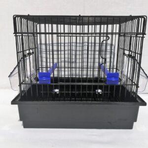 black metal frame small bird cage with black plastic bottom