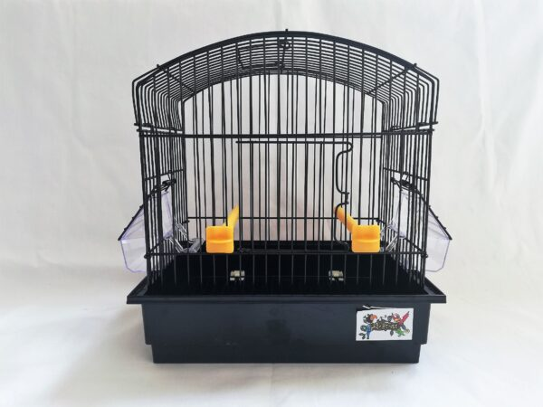 black metal bird cage with plastic black base